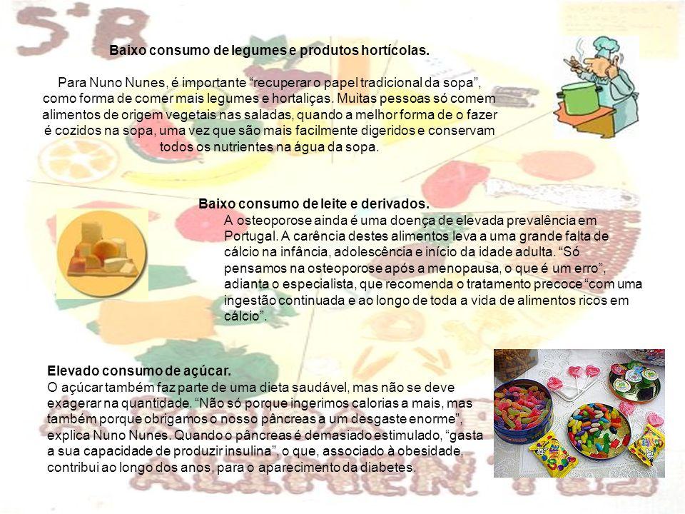 Baixo consumo de legumes e produtos hortícolas