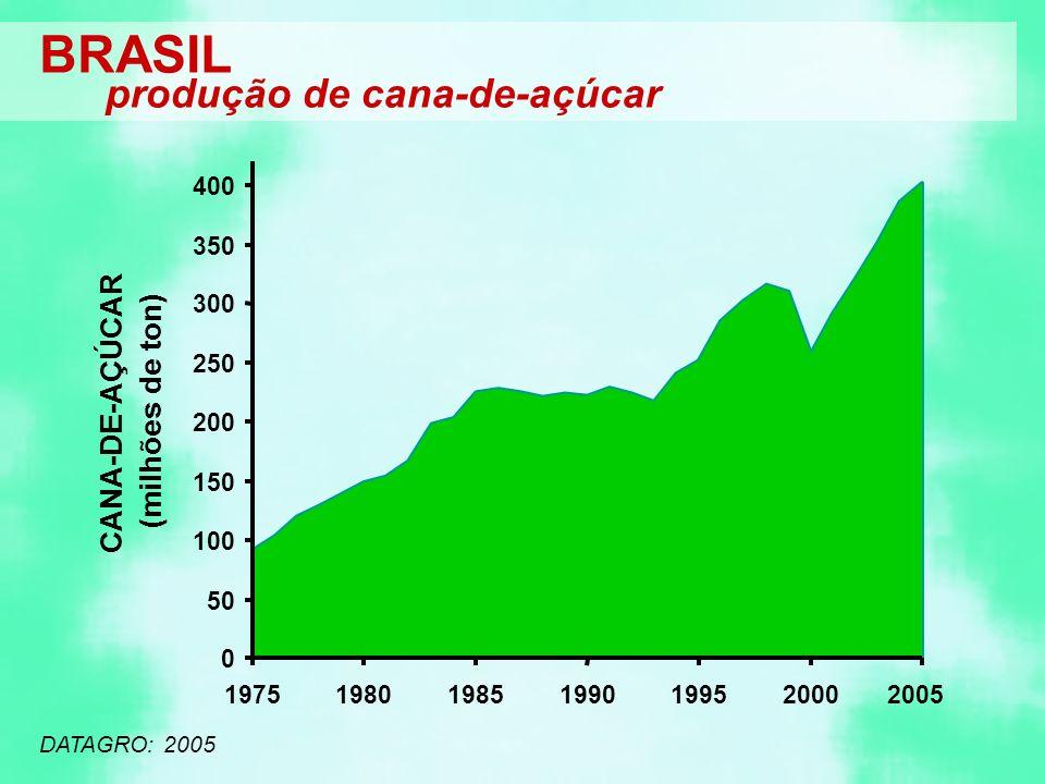 BRASIL produção de cana-de-açúcar (milhões de ton) CANA-DE-AÇÚCAR 400