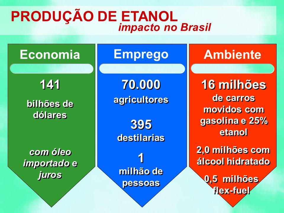 PRODUÇÃO DE ETANOL Economia Emprego Ambiente 141 70.000 agricultores