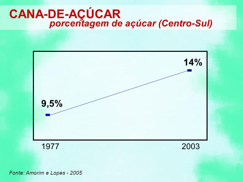 CANA-DE-AÇÚCAR porcentagem de açúcar (Centro-Sul) 14% 9,5% 1977 2003