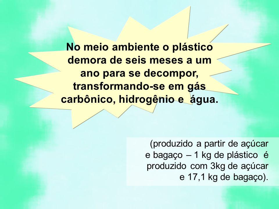No meio ambiente o plástico demora de seis meses a um ano para se decompor, transformando-se em gás carbônico, hidrogênio e água.