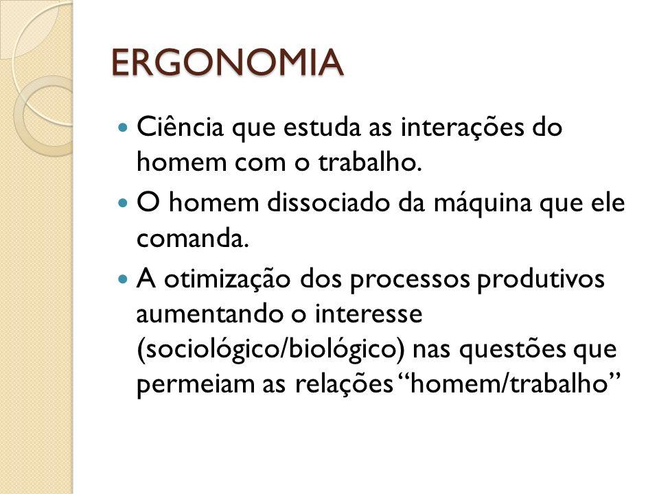 ERGONOMIA Ciência que estuda as interações do homem com o trabalho.