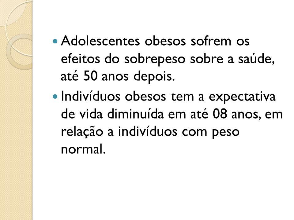 Adolescentes obesos sofrem os efeitos do sobrepeso sobre a saúde, até 50 anos depois.
