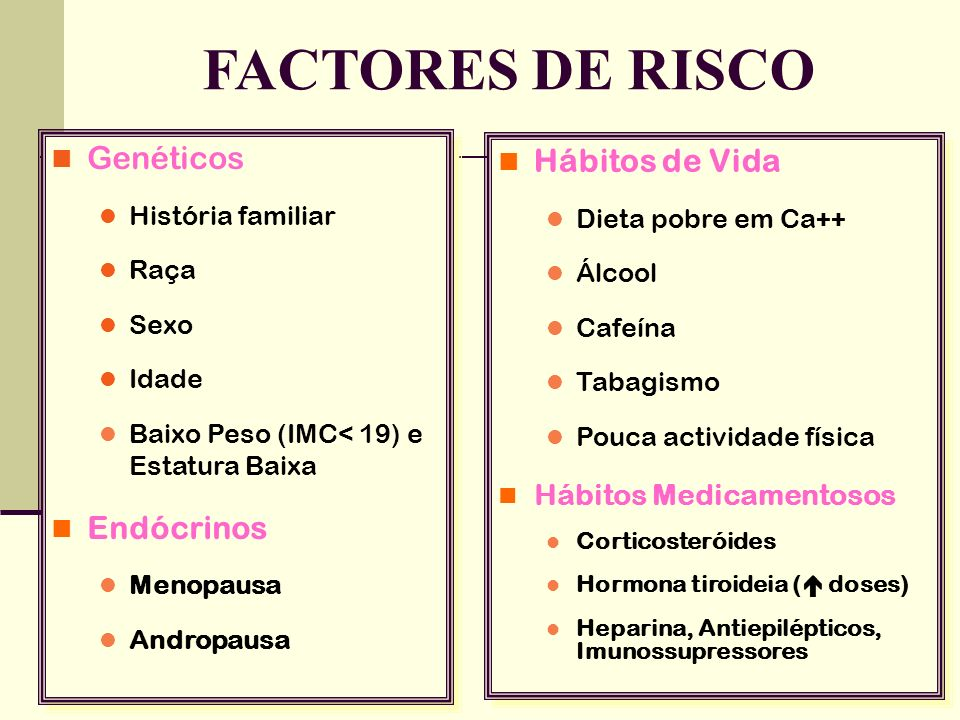 FACTORES DE RISCO Genéticos Hábitos de Vida Endócrinos