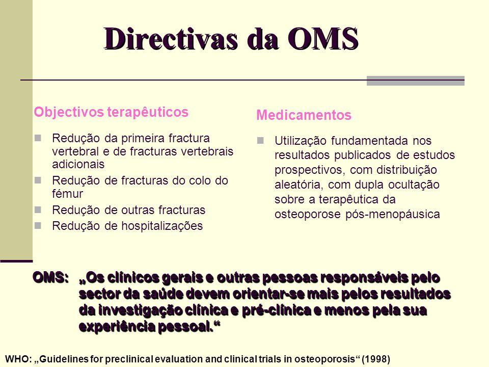 Directivas da OMS Objectivos terapêuticos Medicamentos
