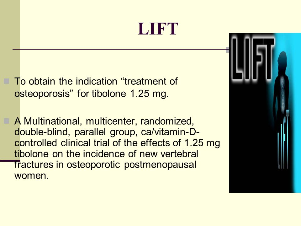 LIFT To obtain the indication treatment of osteoporosis for tibolone 1.25 mg.
