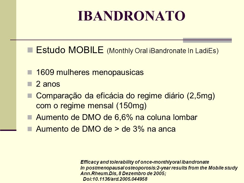 IBANDRONATO Estudo MOBILE (Monthly Oral iBandronate In LadiEs)