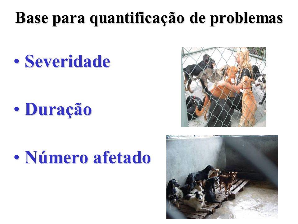 Base para quantificação de problemas