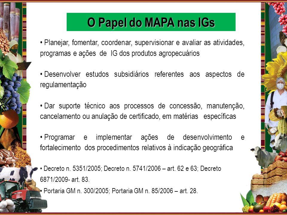 O Papel do MAPA nas IGs Planejar, fomentar, coordenar, supervisionar e avaliar as atividades, programas e ações de IG dos produtos agropecuários.