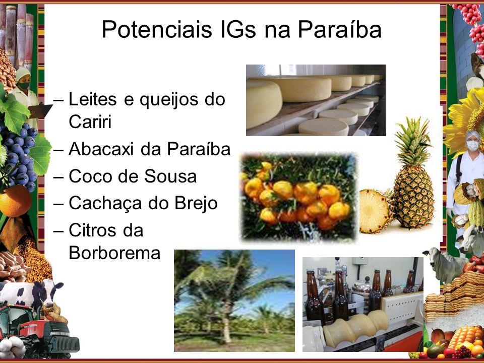 Potenciais IGs na Paraíba