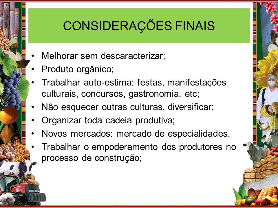 CONSIDERAÇÕES FINAIS Melhorar sem descaracterizar; Produto orgânico;