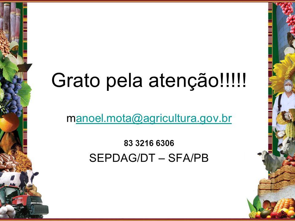 Grato pela atenção!!!!! manoel.mota@agricultura.gov.br
