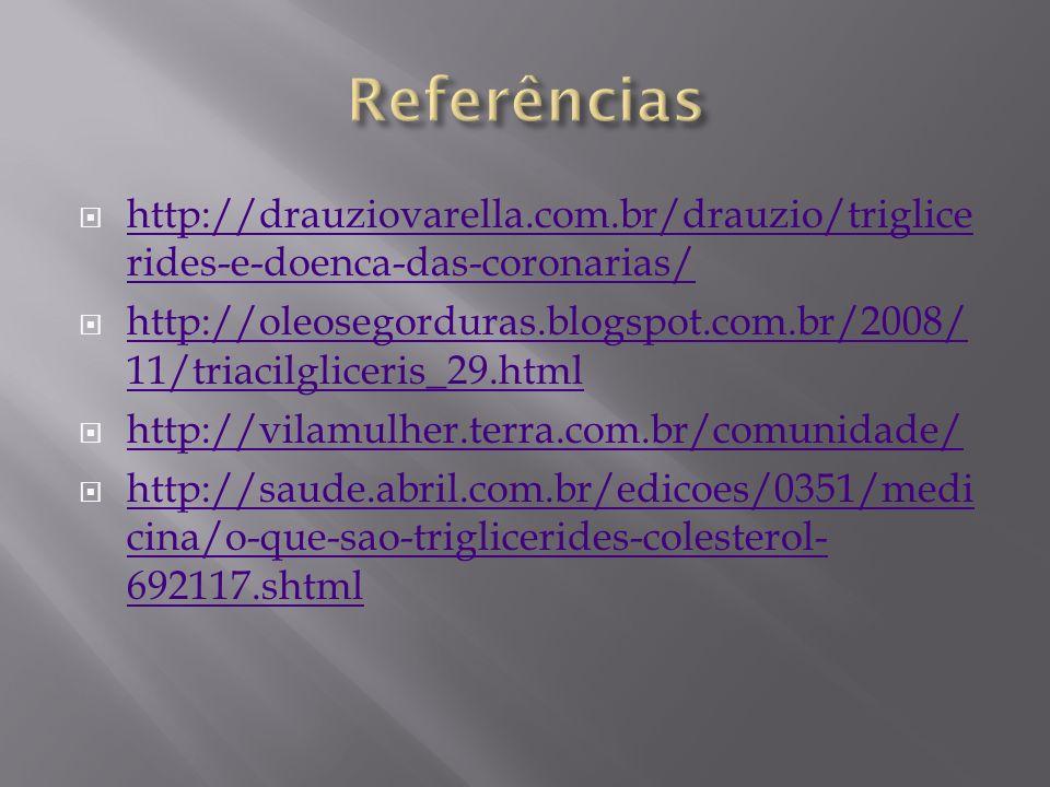 Referências http://drauziovarella.com.br/drauzio/triglicerides-e-doenca-das-coronarias/