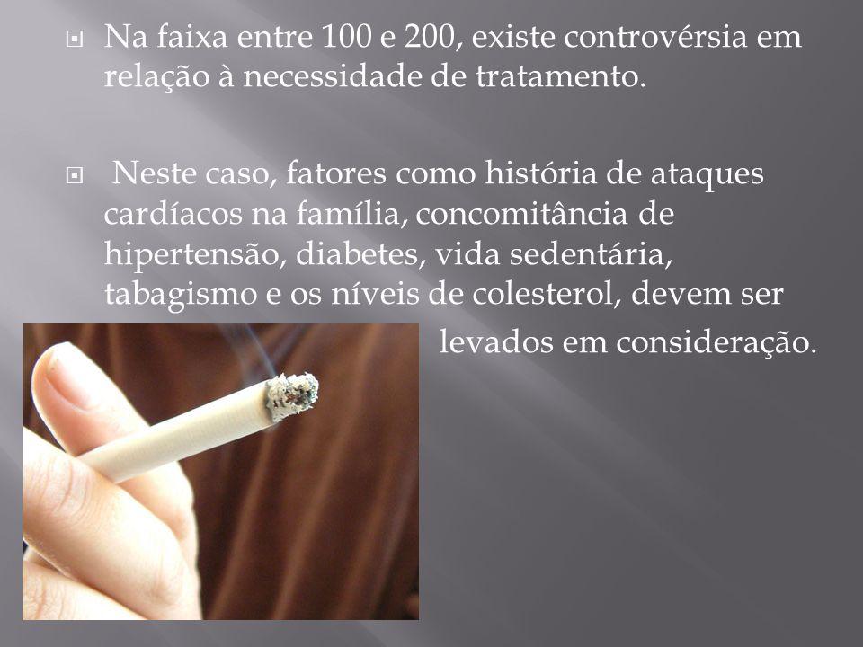Na faixa entre 100 e 200, existe controvérsia em relação à necessidade de tratamento.