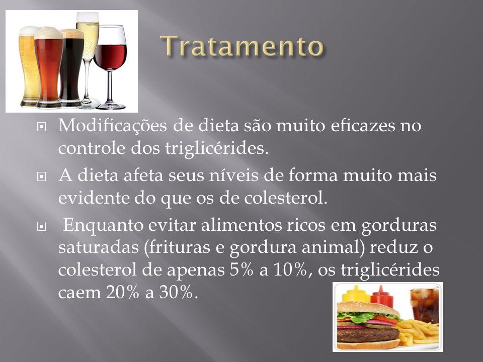 Tratamento Modificações de dieta são muito eficazes no controle dos triglicérides.
