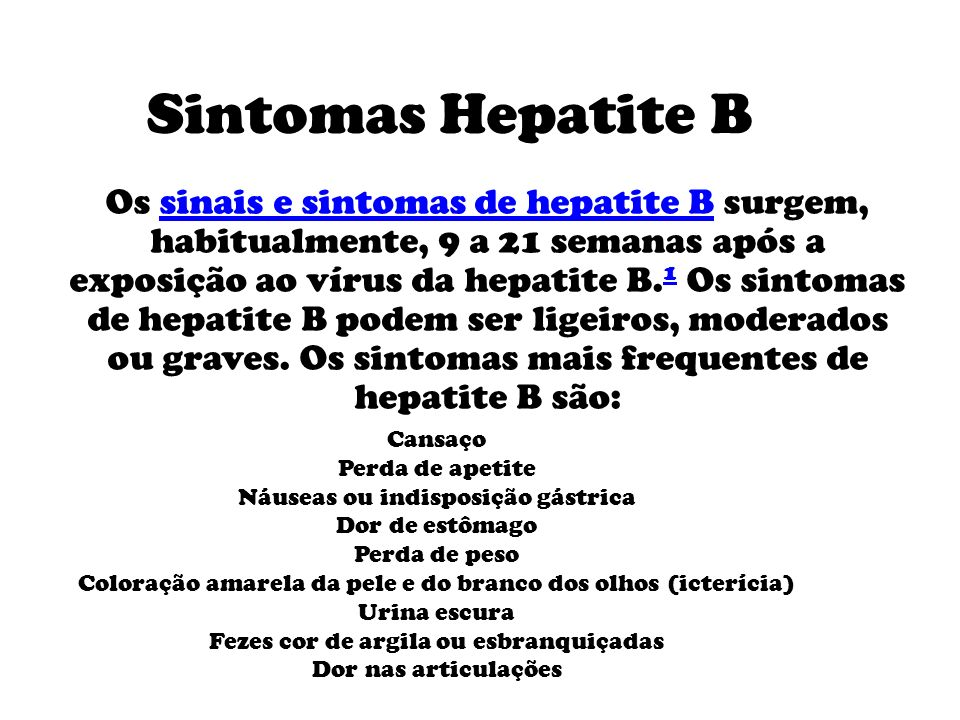 Sintomas Hepatite B