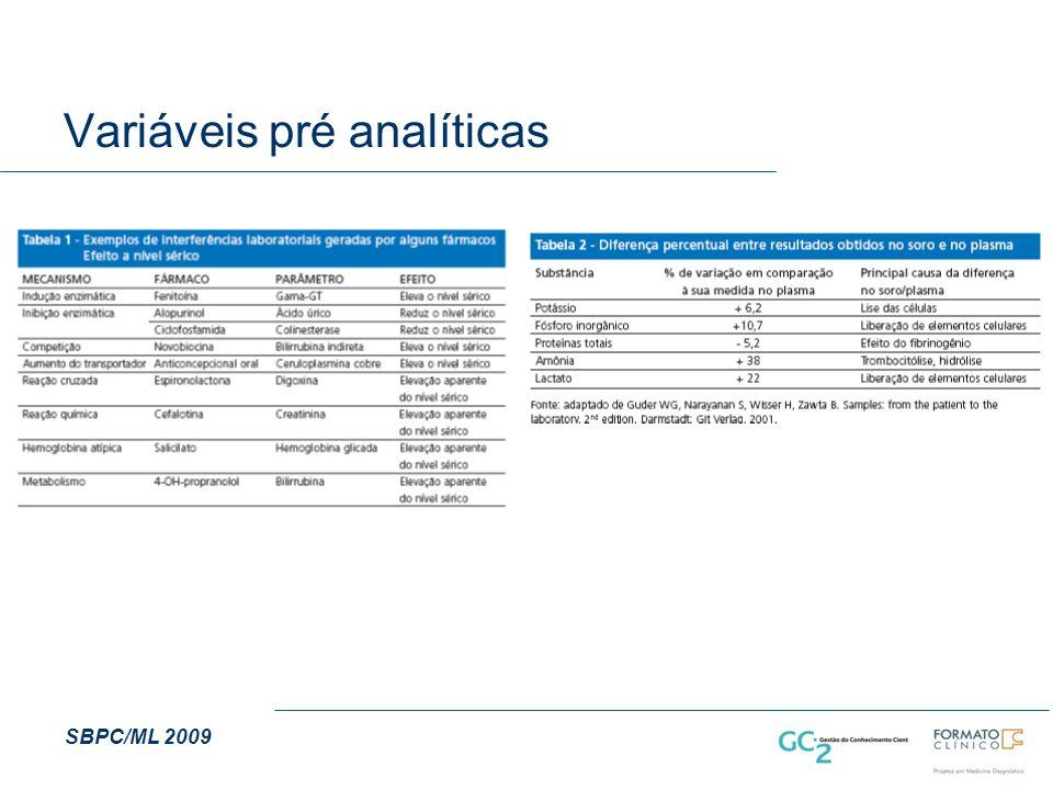 Variáveis pré analíticas
