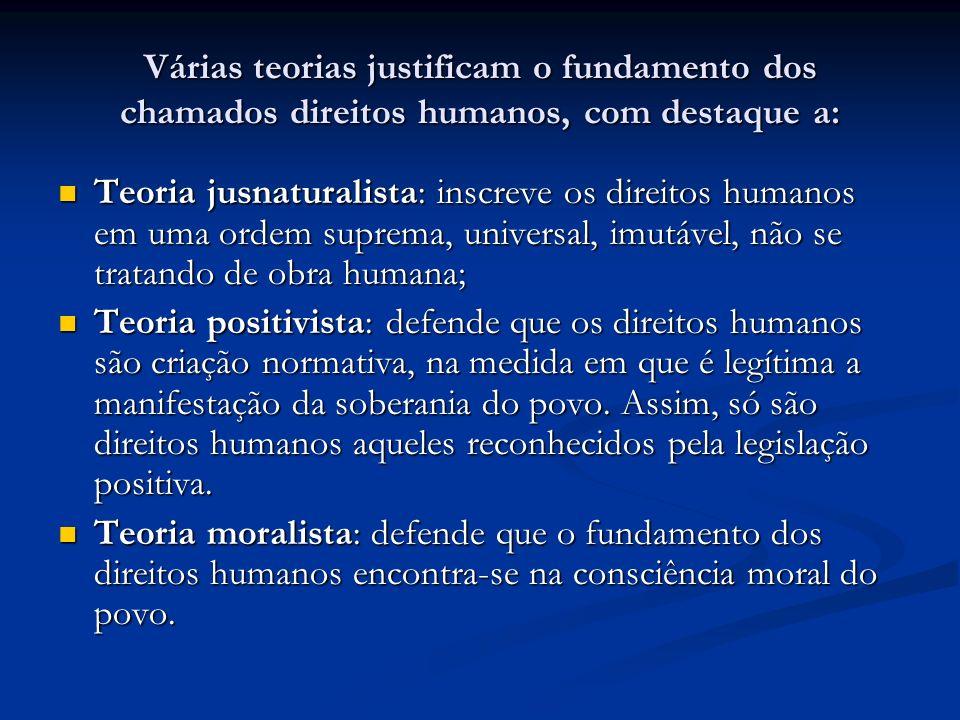 Várias teorias justificam o fundamento dos chamados direitos humanos, com destaque a: