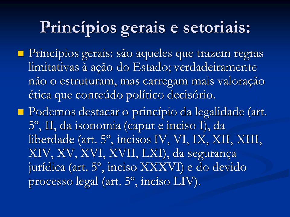 Princípios gerais e setoriais: