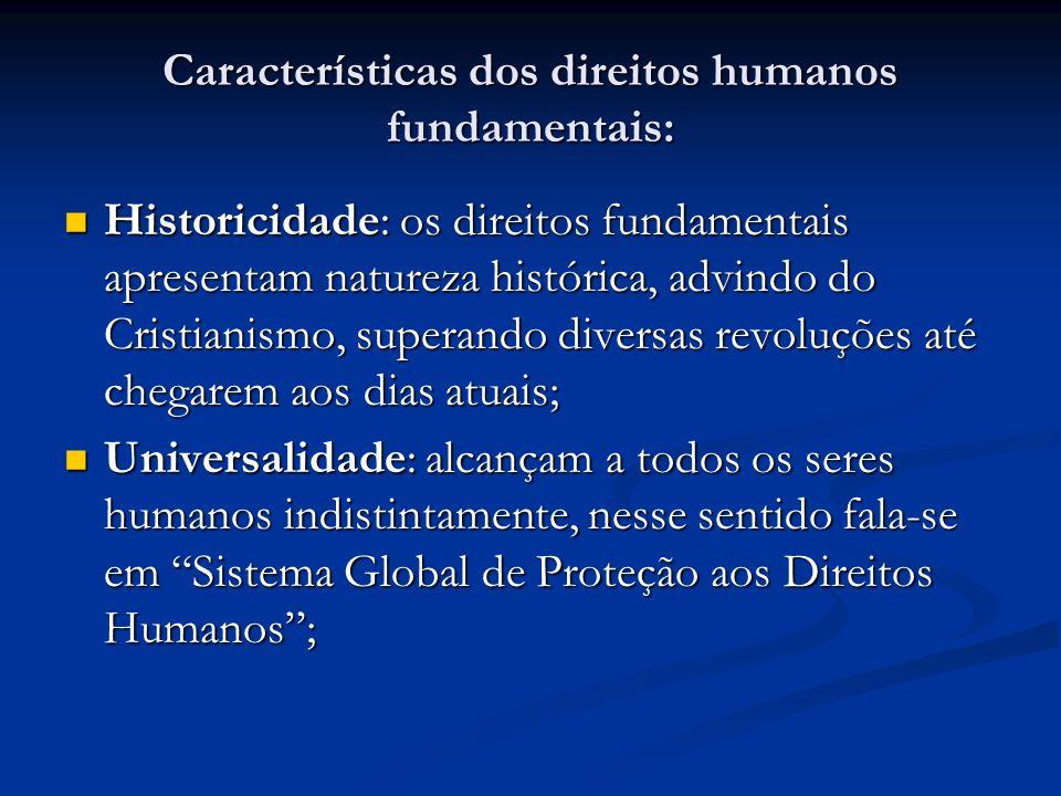 Características dos direitos humanos fundamentais: