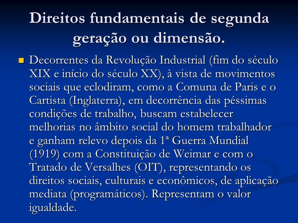 Direitos fundamentais de segunda geração ou dimensão.