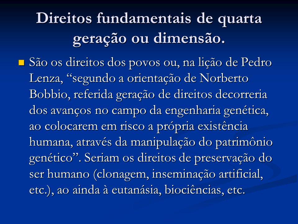 Direitos fundamentais de quarta geração ou dimensão.