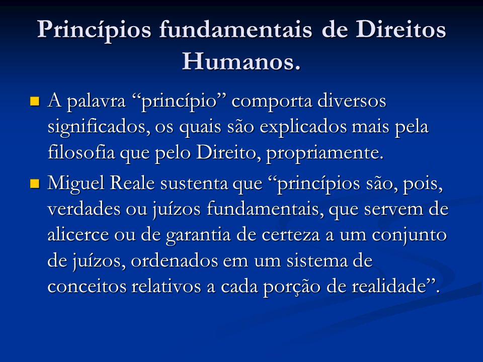 Princípios fundamentais de Direitos Humanos.