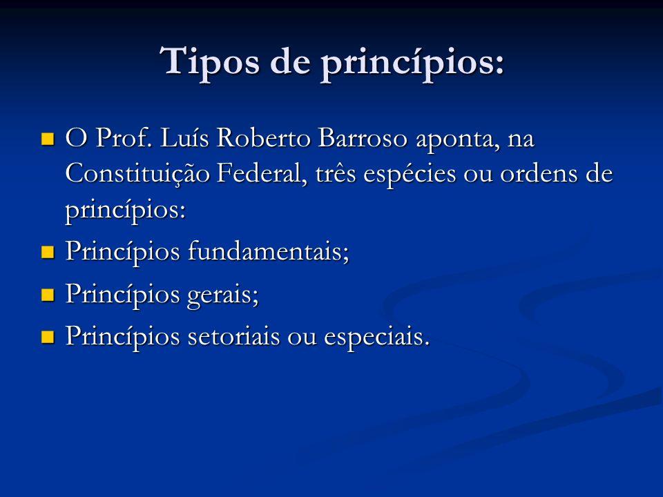 Tipos de princípios: O Prof. Luís Roberto Barroso aponta, na Constituição Federal, três espécies ou ordens de princípios: