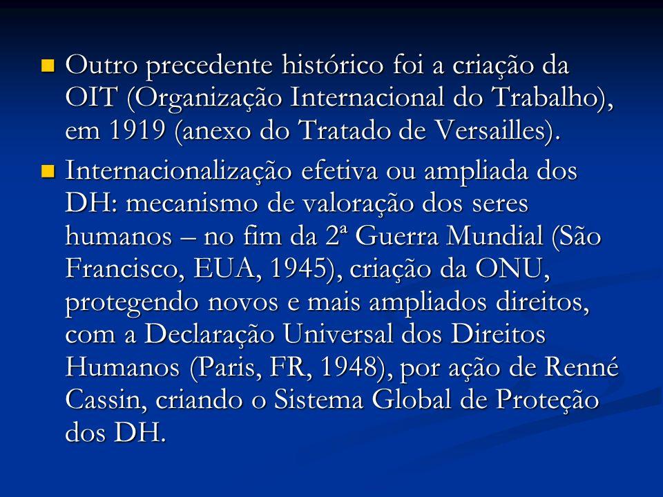 . Outro precedente histórico foi a criação da OIT (Organização Internacional do Trabalho), em 1919 (anexo do Tratado de Versailles).
