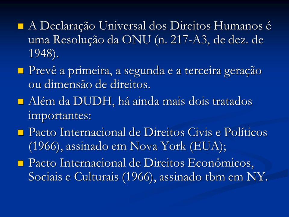 Além da DUDH, há ainda mais dois tratados importantes: