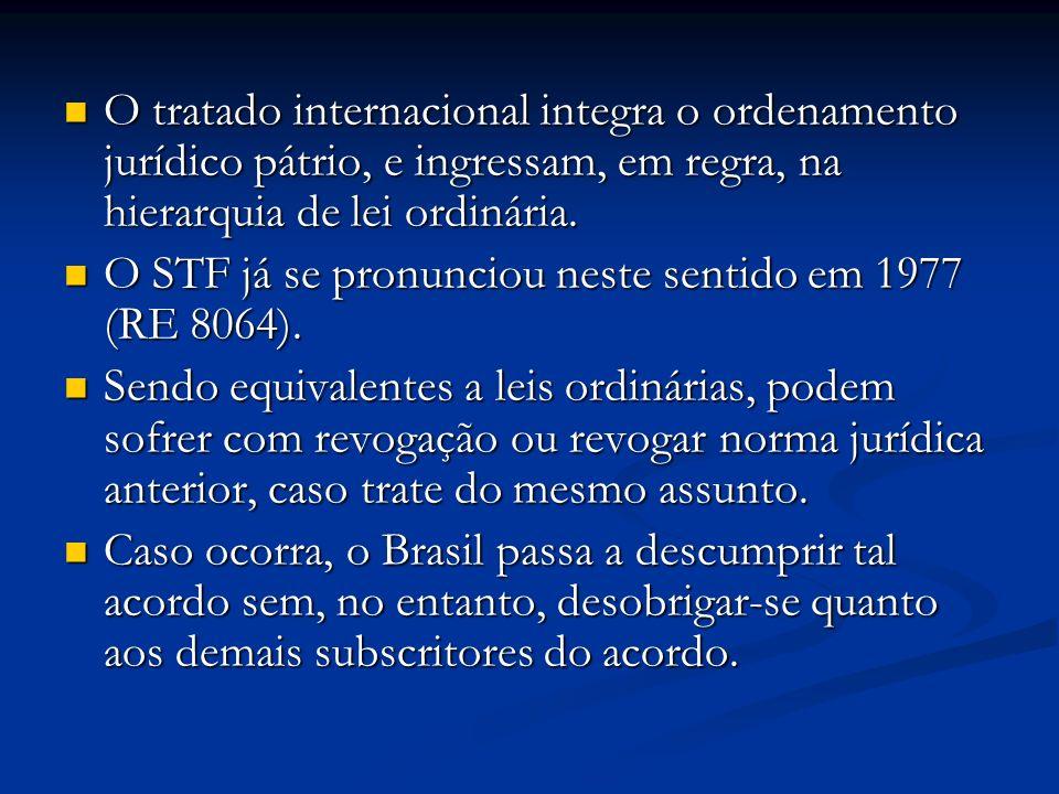 O STF já se pronunciou neste sentido em 1977 (RE 8064).