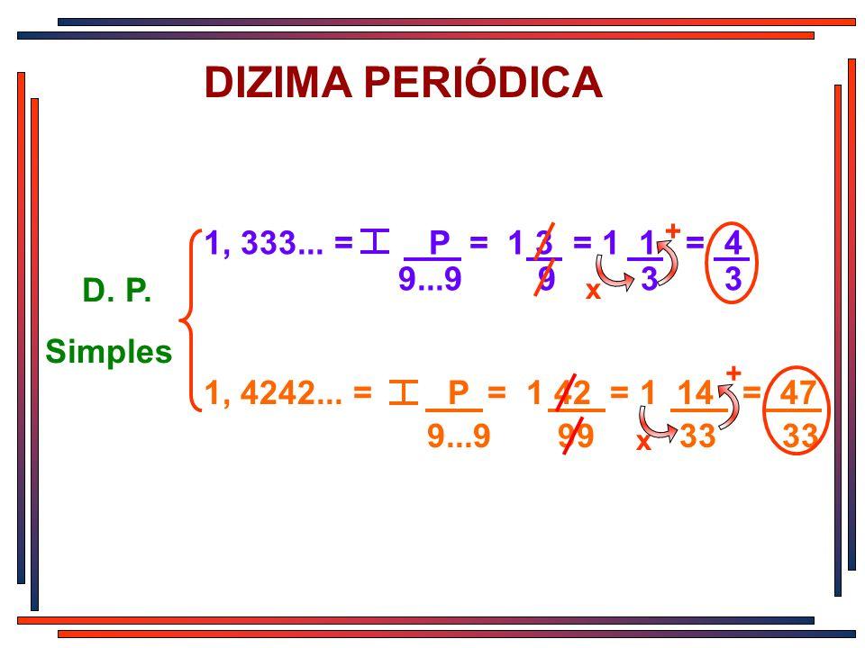 DIZIMA PERIÓDICA 1, 333... = P = 1 3 = 1 1 = 4 9...9 9 3 3 D. P.