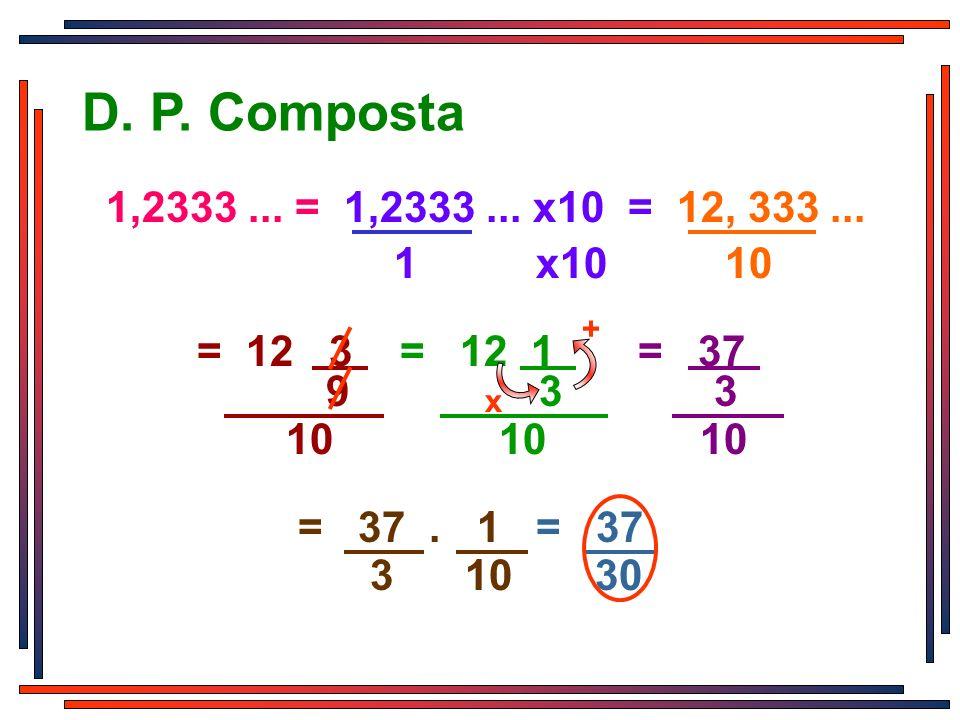 D. P. Composta 1 x10 10. 1,2333 ... = 1,2333 ... x10 = 12, 333 ... + 3. 9 3.