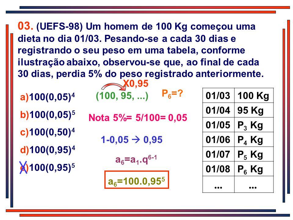 03. (UEFS-98) Um homem de 100 Kg começou uma dieta no dia 01/03