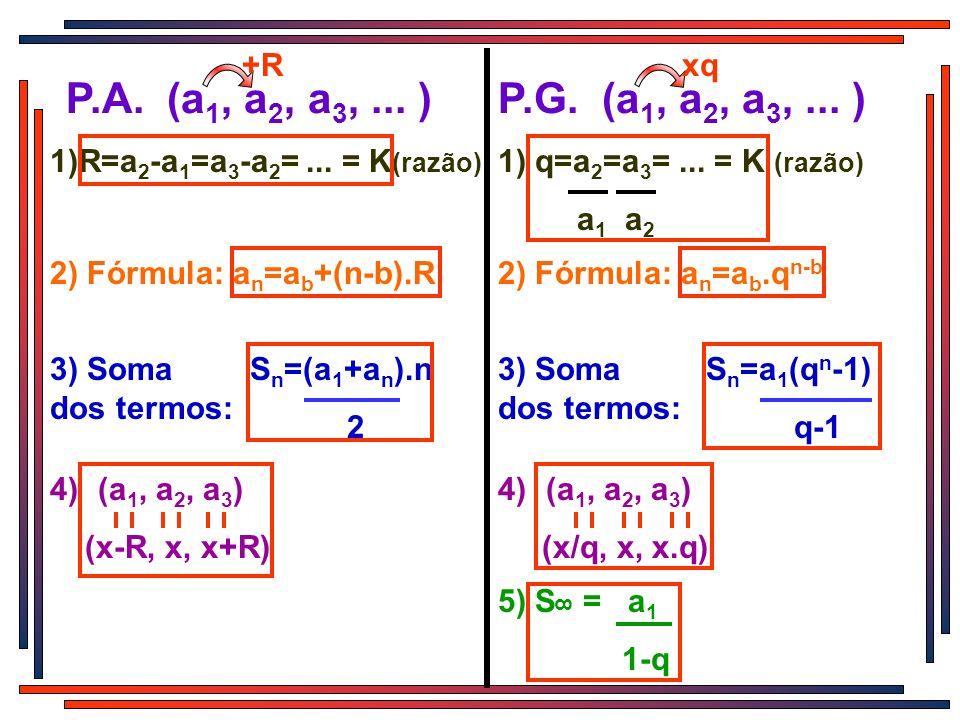 +R xq. P.A. (a1, a2, a3, ... ) P.G. (a1, a2, a3, ... ) 1)R=a2-a1=a3-a2= ... = K(razão) 1) q=a2=a3= ... = K (razão)