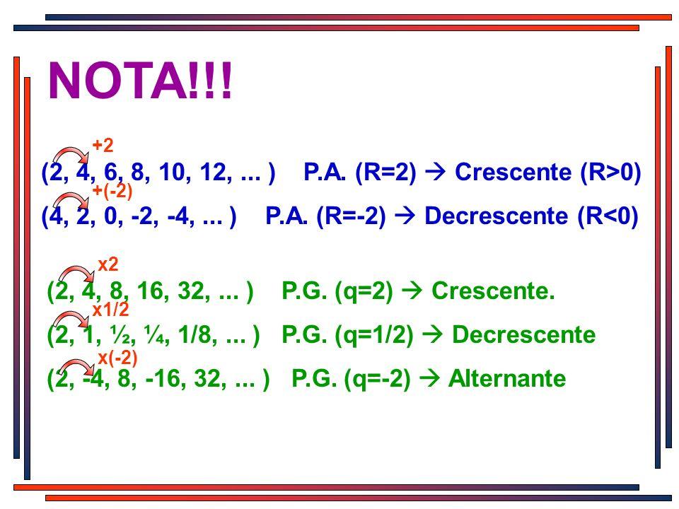 NOTA!!! (2, 4, 6, 8, 10, 12, ... ) P.A. (R=2)  Crescente (R>0)