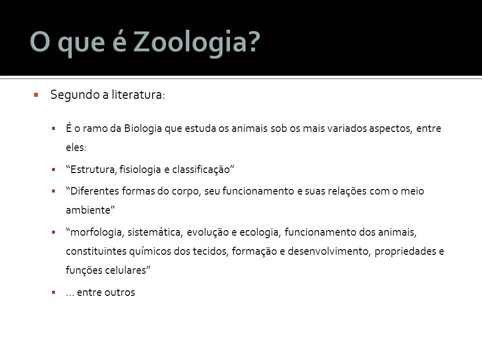 O que é Zoologia Segundo a literatura: