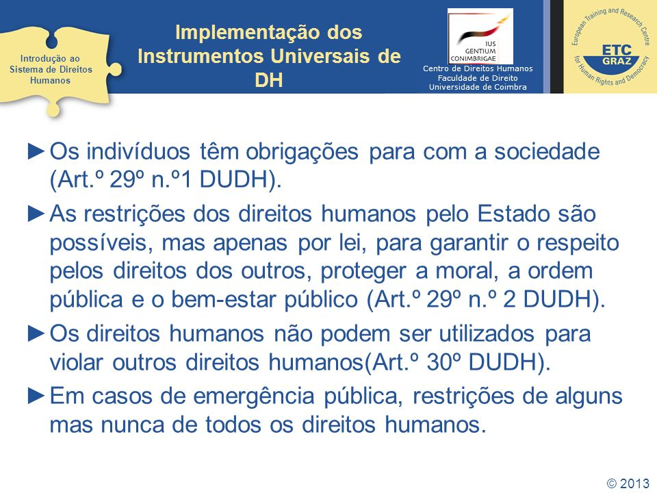 Implementação dos Instrumentos Universais de DH