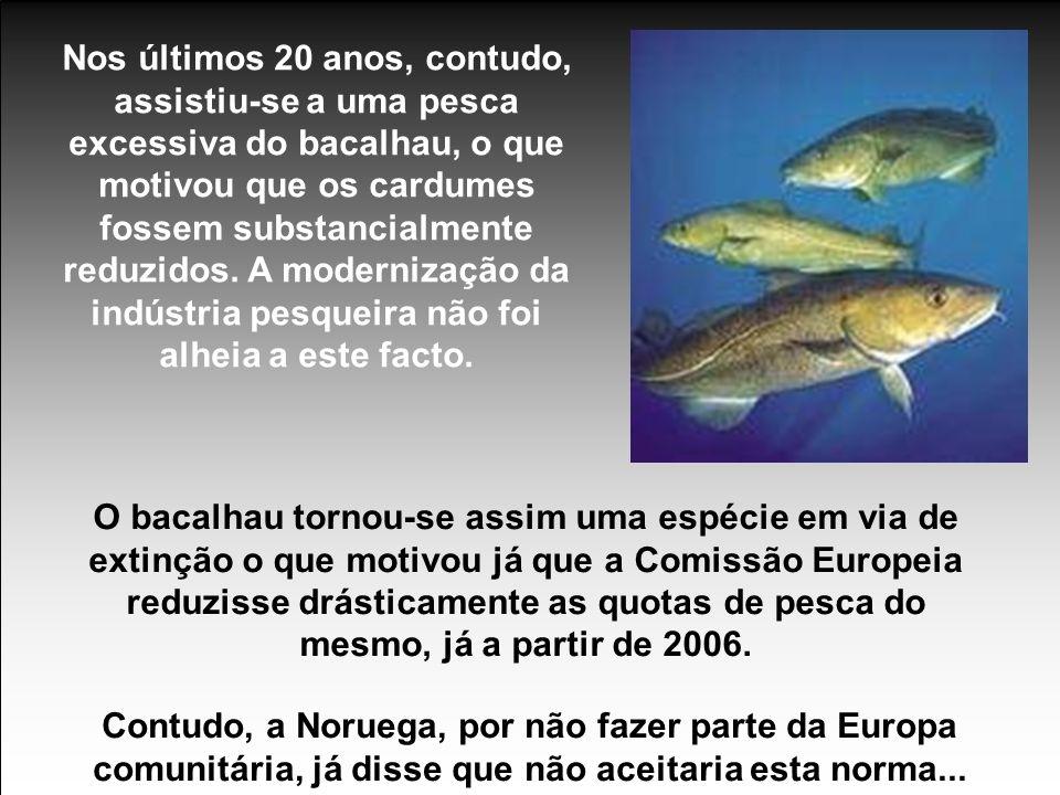 Nos últimos 20 anos, contudo, assistiu-se a uma pesca excessiva do bacalhau, o que motivou que os cardumes fossem substancialmente reduzidos. A modernização da indústria pesqueira não foi alheia a este facto.