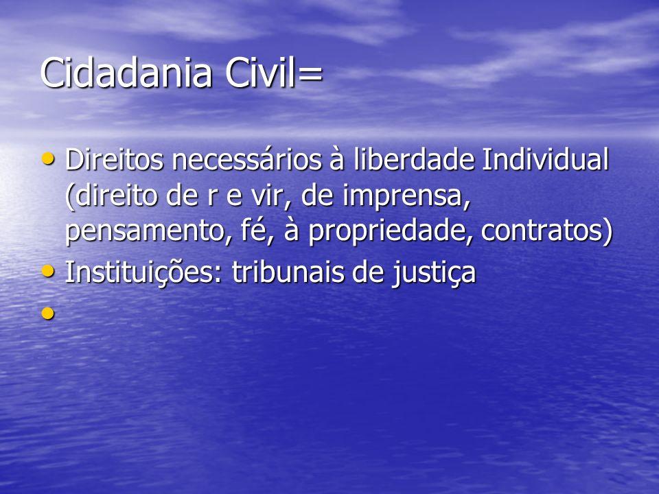 Cidadania Civil= Direitos necessários à liberdade Individual (direito de r e vir, de imprensa, pensamento, fé, à propriedade, contratos)