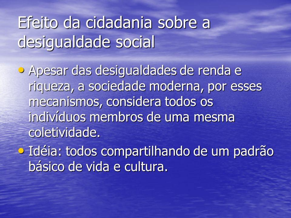 Efeito da cidadania sobre a desigualdade social