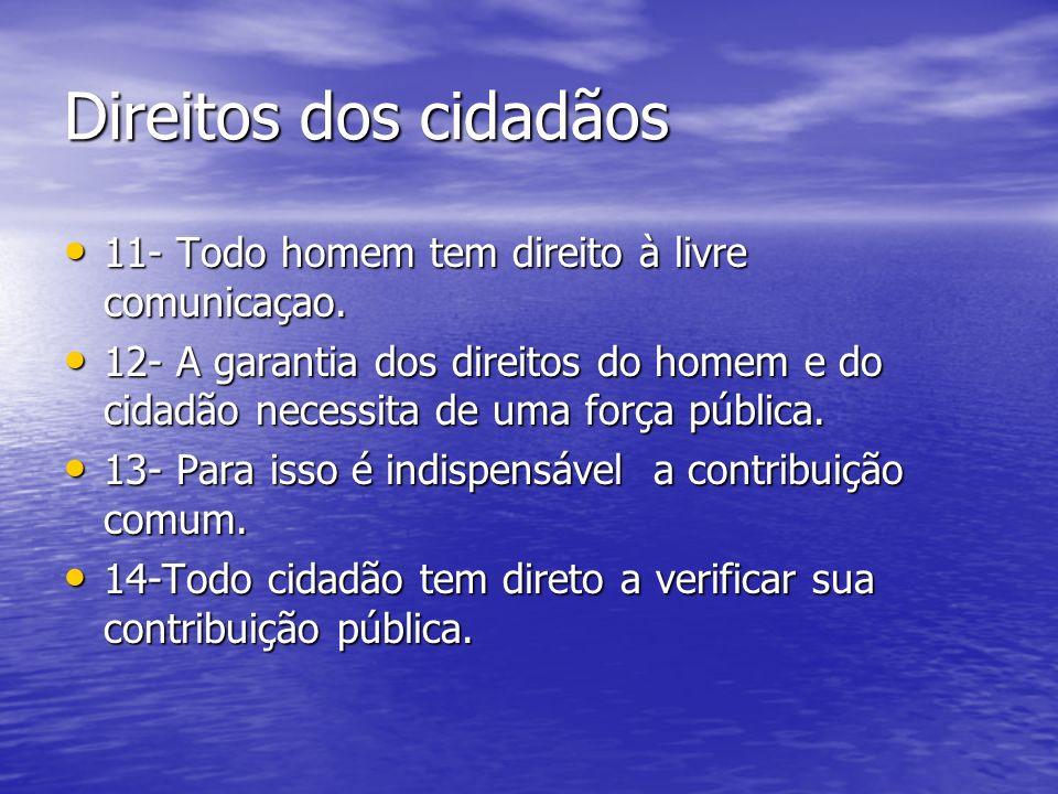 Direitos dos cidadãos 11- Todo homem tem direito à livre comunicaçao.