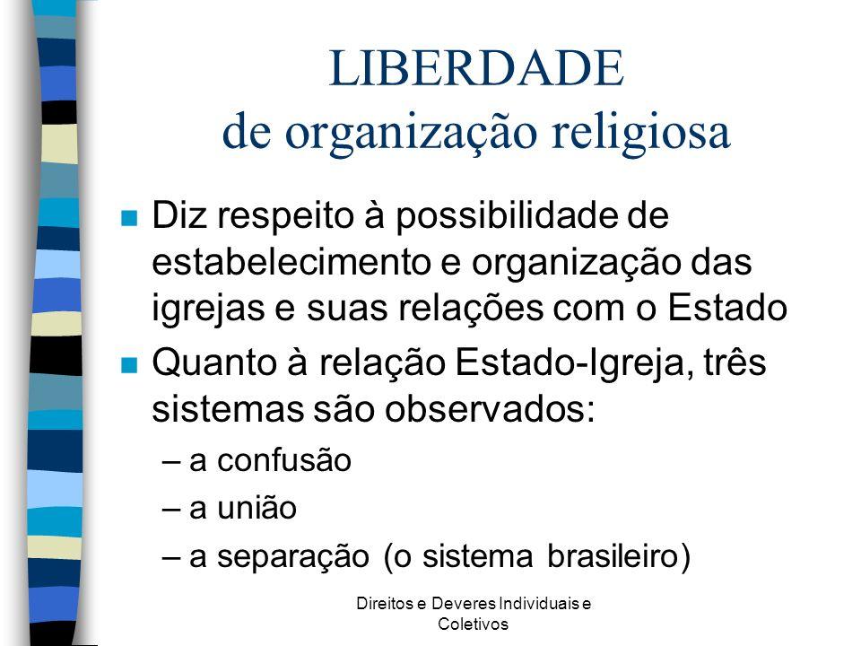 LIBERDADE de organização religiosa