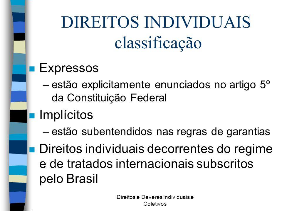 DIREITOS INDIVIDUAIS classificação