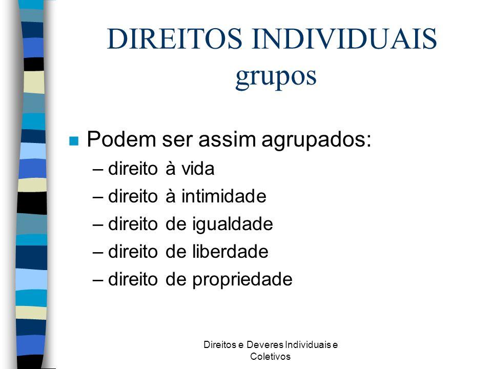 DIREITOS INDIVIDUAIS grupos
