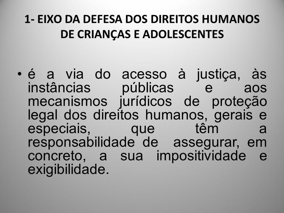 1- EIXO DA DEFESA DOS DIREITOS HUMANOS DE CRIANÇAS E ADOLESCENTES