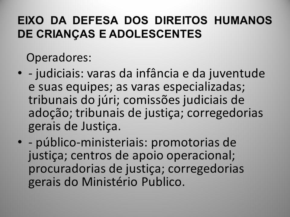 EIXO DA DEFESA DOS DIREITOS HUMANOS DE CRIANÇAS E ADOLESCENTES