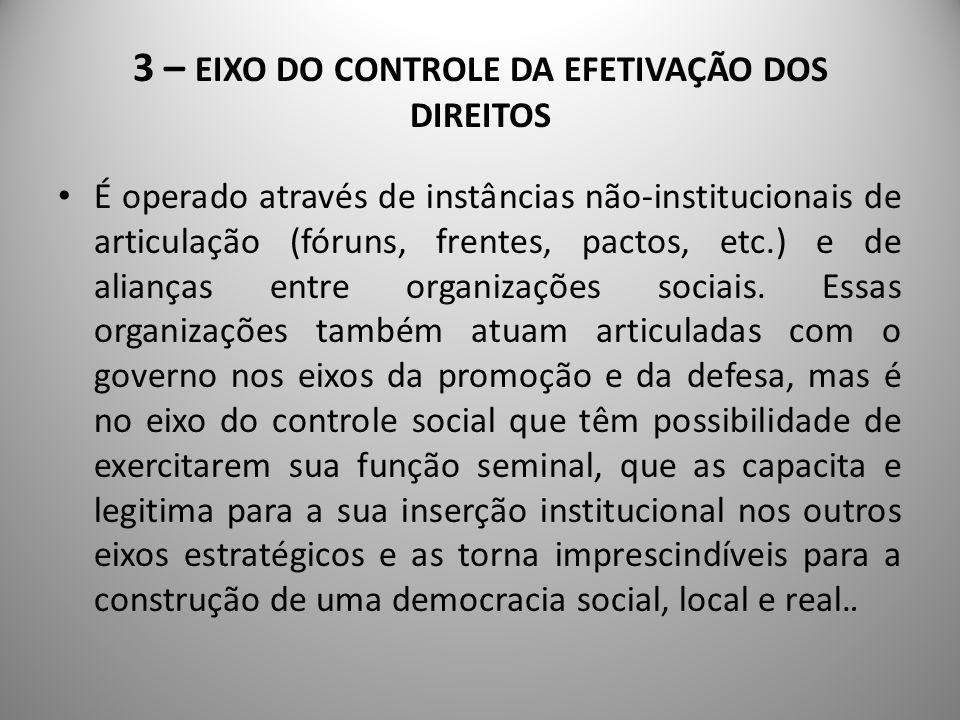 3 – EIXO DO CONTROLE DA EFETIVAÇÃO DOS DIREITOS