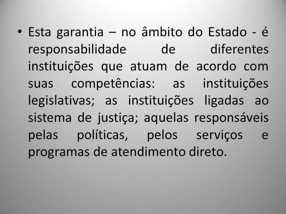 Esta garantia – no âmbito do Estado - é responsabilidade de diferentes instituições que atuam de acordo com suas competências: as instituições legislativas; as instituições ligadas ao sistema de justiça; aquelas responsáveis pelas políticas, pelos serviços e programas de atendimento direto.