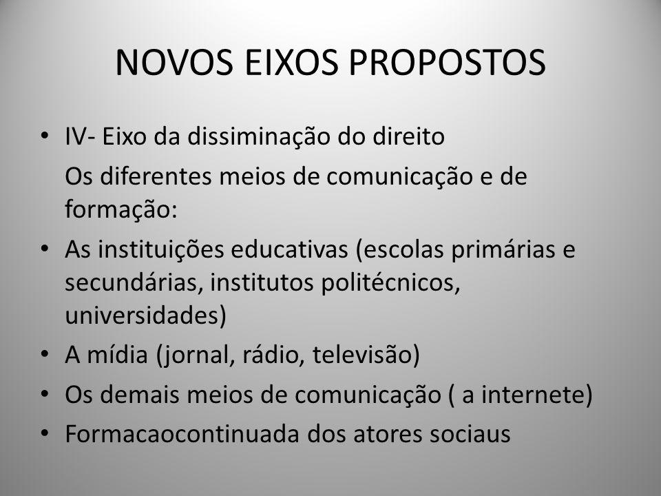 NOVOS EIXOS PROPOSTOS IV- Eixo da dissiminação do direito